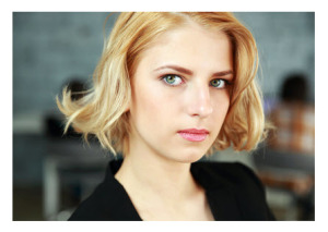 Serious Young Blonde woman