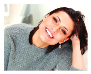 Happy Woman Smiling Gray Sweater