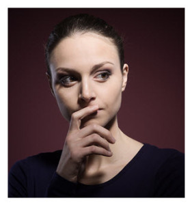 Pensive Woman Hand over Mouth