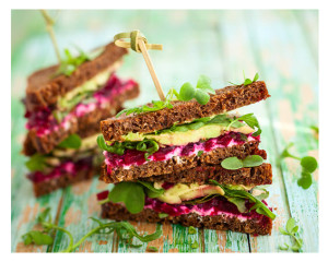 Sandwich of Beet Avocado Arugala
