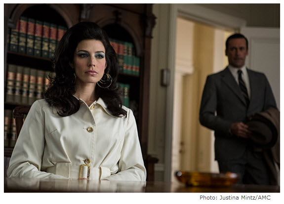 Mad Men Season 7 Episode 9 Megan and Don at Lawyer's Office