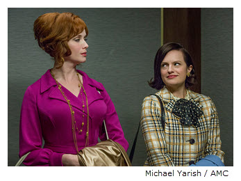 Peggy and Joan in elevator Mad Men Season 7 Episode 8