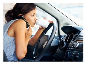 Woman Working and Talking While Driving