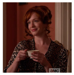 Mad Men Finale Joan having coffee in leopard robe