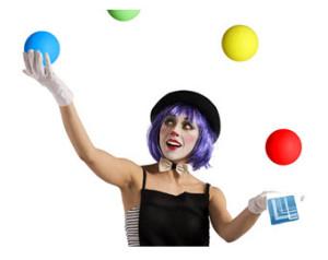 Woman Juggler Many Balls