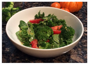 Kale Broccoli Spinach and Tomato Salad