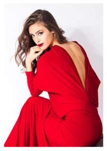 Elegant Woman Dressed in Red Looking Over Shoulder lg