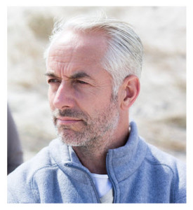 Mature Man Silver Hair Looking to the Distance