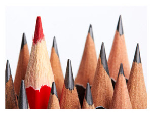 Independent Thinking_One Red Pencil in the Crowd