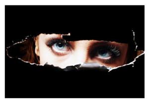Blue Eyed Woman Peering Through Peep Hole