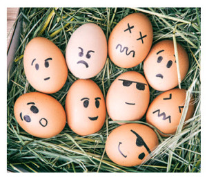 Emotional Faces on Painted Easter Eggs