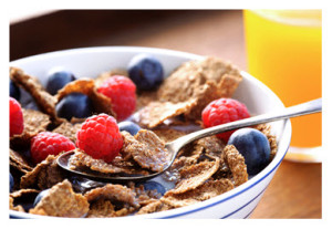 Breakfast Cereal with Fruit and OJ