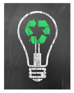 Recycle_Light Bulb on Blackboard