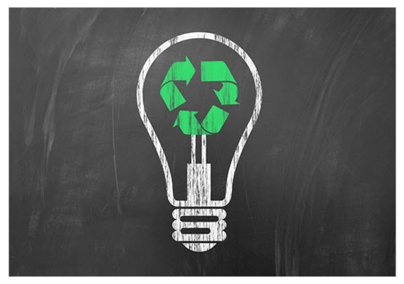 Recycle_Light Bulb on Blackboard 575