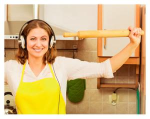Happy Homemaker With Earphones