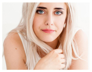Blue Eyed Woman With Disappointed Expression