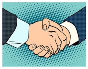 Handshake Cartoon Style